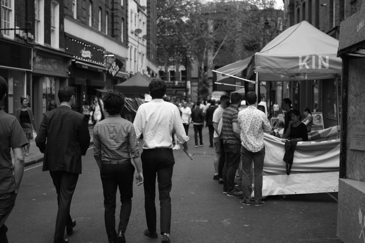 Street Photography Market London Men People Watching Black And White