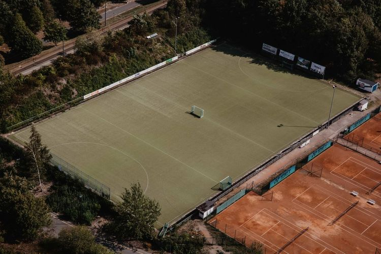 Aerial View Competition Court Day Field Football Field Grass High Angle View Land Nature No People Outdoors Plant Playing Field Soccer Soccer Field Soccer Field Lines Sport Stadium Sunlight Team Sport Tree