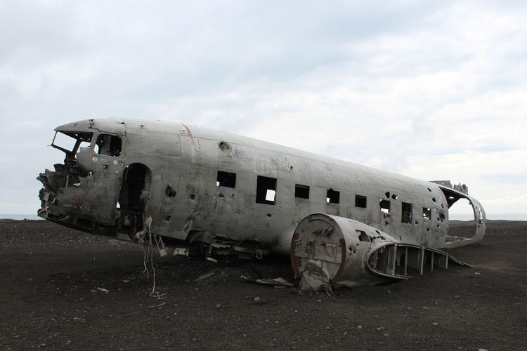Airplane Abandoned Air Vehicle Sky Damaged Transportation Destruction Day Mode Of Transportation Accidents And Disasters Nature Crash Ruined Broken Travel Old Cloud - Sky Run-down No People Outdoors Deterioration Demolished Iceland Iceland Trip Roadtrip
