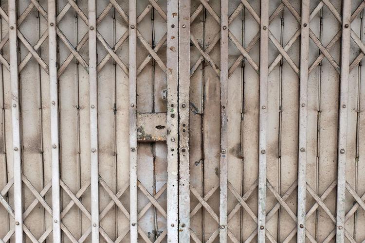 Full frame shot of closed metal gate