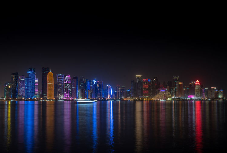 Water Front Doha Skyline Night View Architecture City Doha Ijas Muhammed Photography Reflection Travel Ijasasap Long Exposure Night Qatar Travel Destinations Waterfront