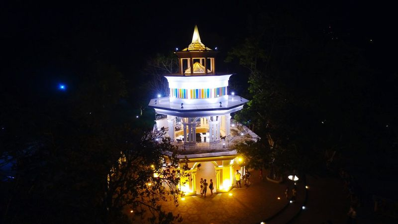 Khaorung Viewpoint Mountain Tree Night Light Colors Ourdoor Blackground Beautiful Phuket Thailand