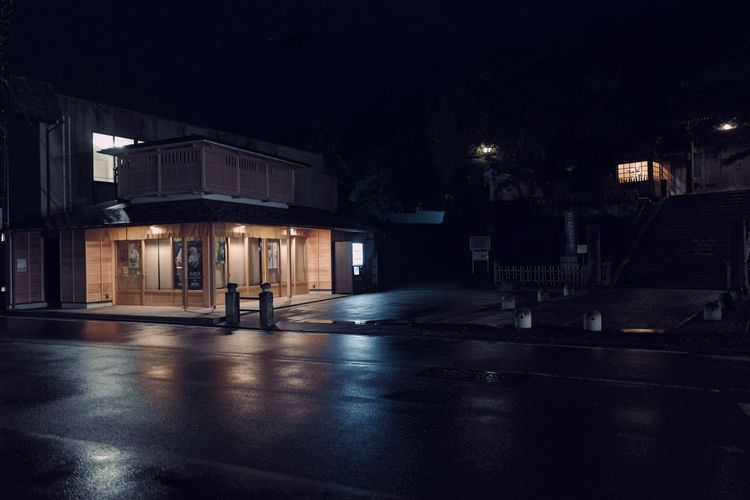 Processed with VSCO with v1 preset Illuminated Architecture Night Building Exterior Built Structure City Street Building No People Wet Road Lighting Equipment Nature Empty Rain Street Light Dark Transportation Outdoors