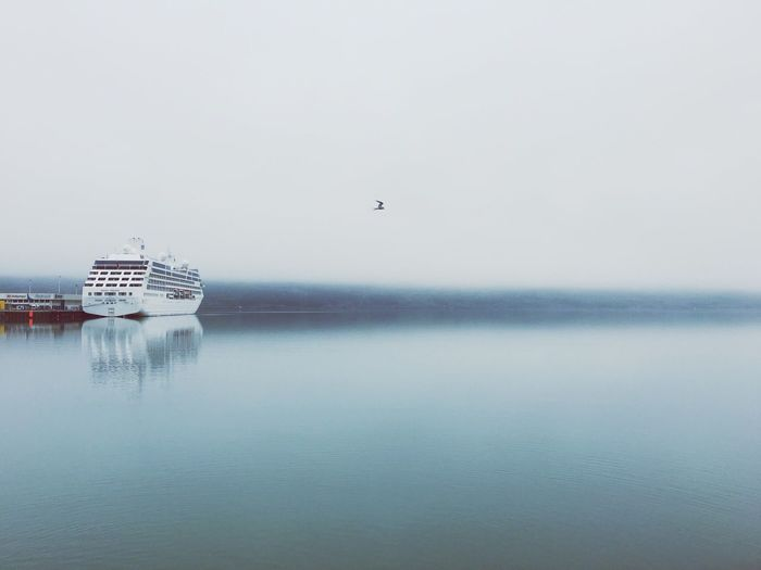 Cruise Ship On Sea Against Sky