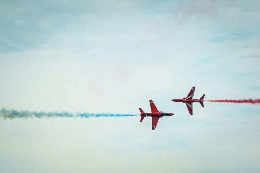 Great display fom The Red Arrows. Eastbourne Airbourne Planes Jets Hawk Red Redarrows