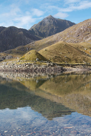Mount Snowdon (Yr Wyddfa) reflected in the waters of Llyn Llydaw Beauty In Nature Cloud - Sky Day Lake Landscape Llyn Llydaw Mountain Mountain Range Nature No People North Wales Outdoors Reflection Scenics Sky Snowdon Snowdonia National Park Tranquil Scene Tranquility Triangles Water Yr Wyddfa Breathing Space
