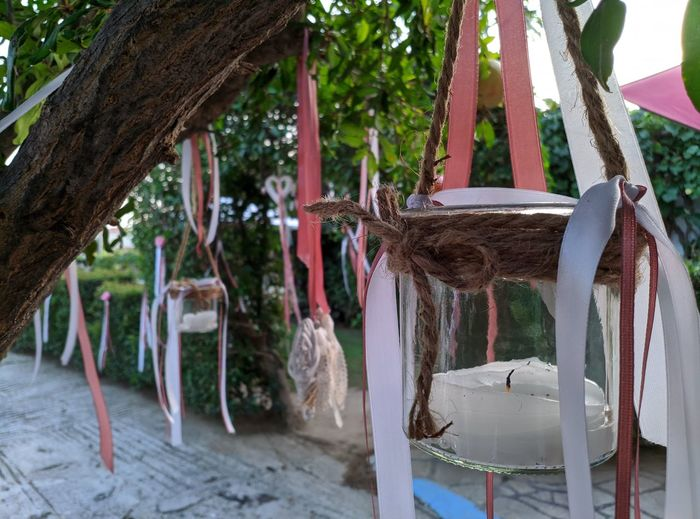 Panoramic shot of empty chairs against trees