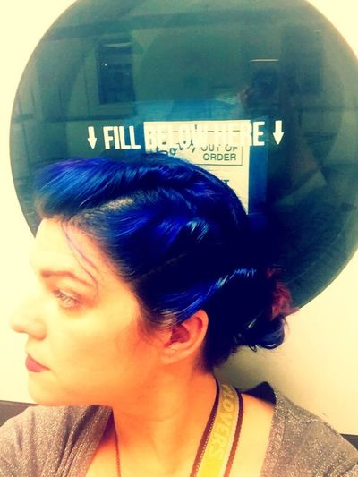 Washing Machine Washing Laundromat Laundry Technology Indoors  Portrait Portrait Of A Woman Colored Hair Bright Hair Blue Hair Woman Profile Profile View Face Faces Of EyeEm