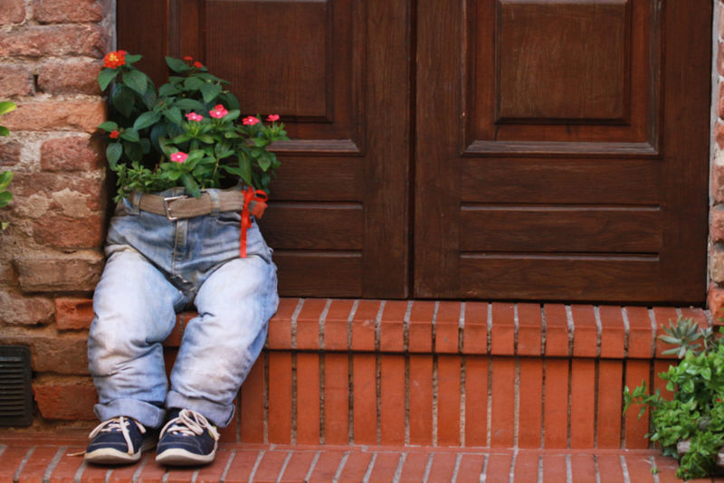 Blue Jeans Blue Jeans Close-up Bricks Brown Casual Clothing Day Door Handle Flower Freshness Growth Outdoors Plant Planter Planter Pot Step Threshold