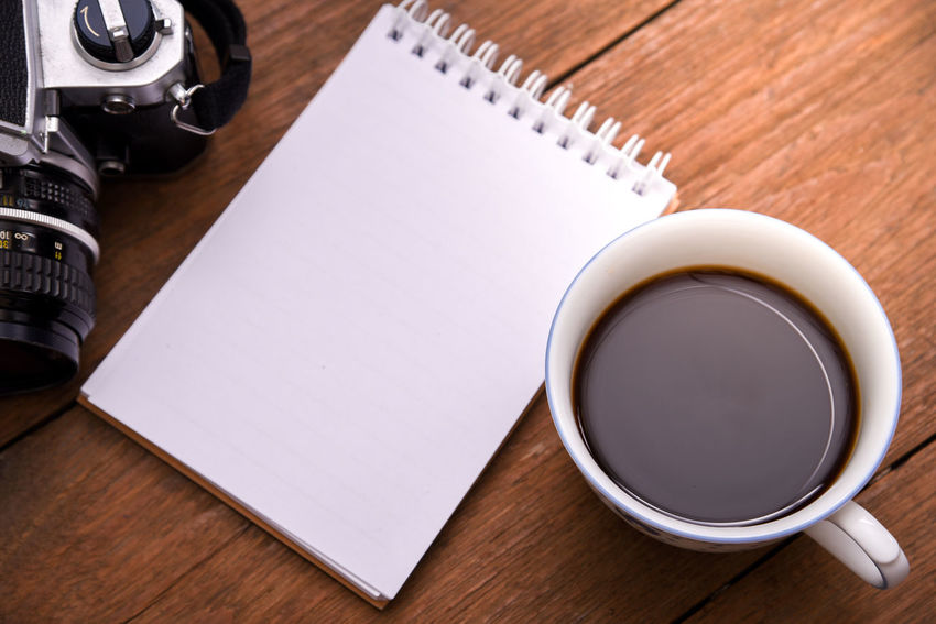 Blank Book Close-up Coffee - Drink Coffee Cup Day Desk Diary Directly Above Drink Food And Drink Freshness High Angle View Indoors  No People Note Pad Paper Refreshment Spiral Notebook Table Wood - Material