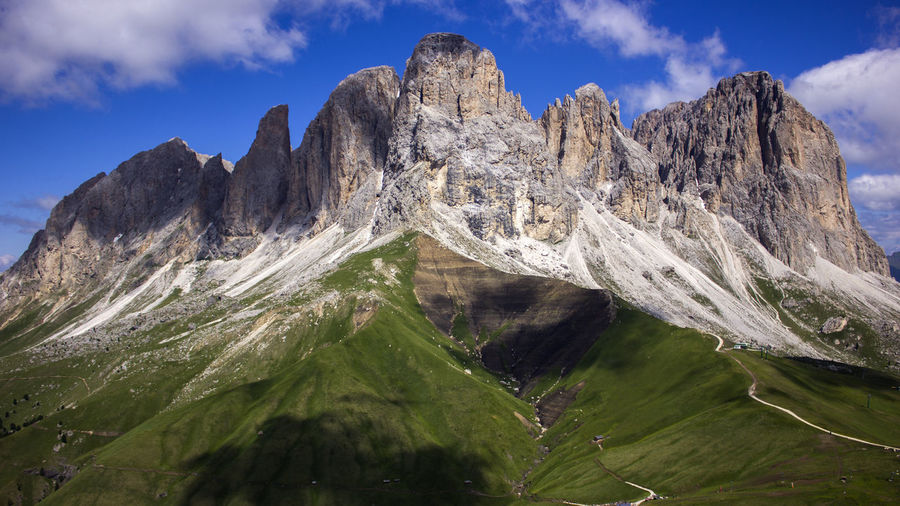 Scenic view of snowcapped mountains against sky iin dolomites