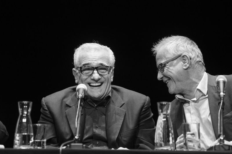 Laughing Lyon Martin Scorsese Only Lyon Productor Work Adult Businessman Cinema Indoors  Laughing Faces Master Class Men People Senior Men Sitting Two People