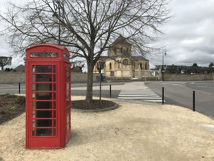 Telephone Booth Ranville Church Street Built Structure Bare Tree Outdoors Pay Phone Architecture Tree Day No People Cultures City