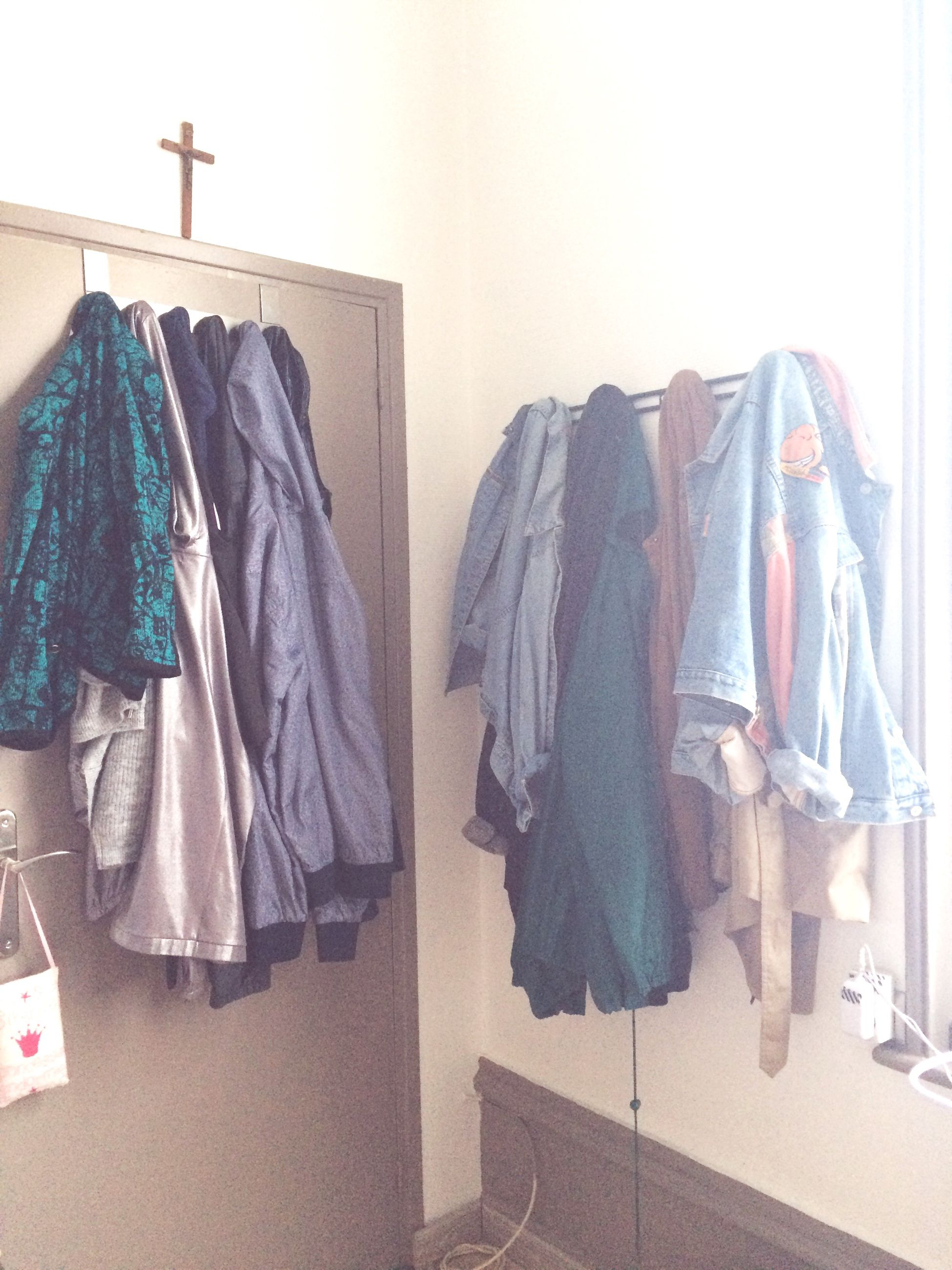 hanging, clothing, coathanger, indoors, no people, variation, fashion, choice, cloth, day