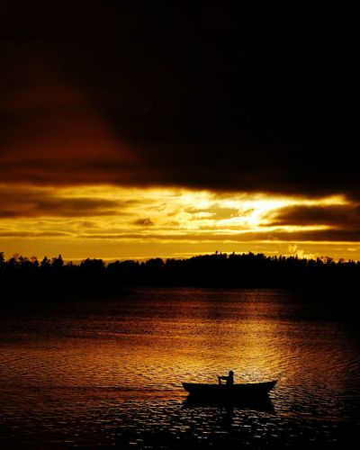Last row. Sunset Nautical Vessel Transportation Boat Water Mode Of Transport Silhouette Scenics Tranquil Scene Cloud - Sky Lake Tranquility Dramatic Sky Sea Sky Orange Color Atmosphere Atmospheric Mood Nature Helsinki, Finland Outdoors Transportation Beauty In Nature People And Places