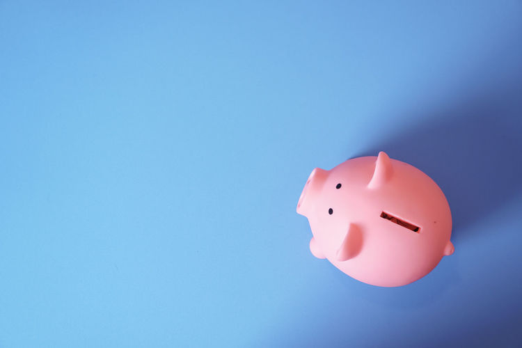 High angle view of pink piggy bank on blue background