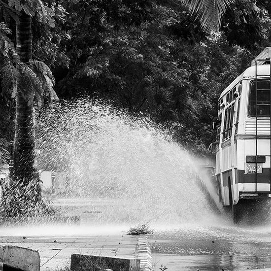 Instapic Instaman Me Panaji Goa Goatourism Puddle Water Watersplash Monsoon Awesome Fun Bus Goaisawesome Planetgoa Minieurope LoveGoa Visitgoa Goaisfun Goan Goenkar Susegad Blackandwhite Blackandwhitephotography B &w shadesofgrey @pickmygoapic
