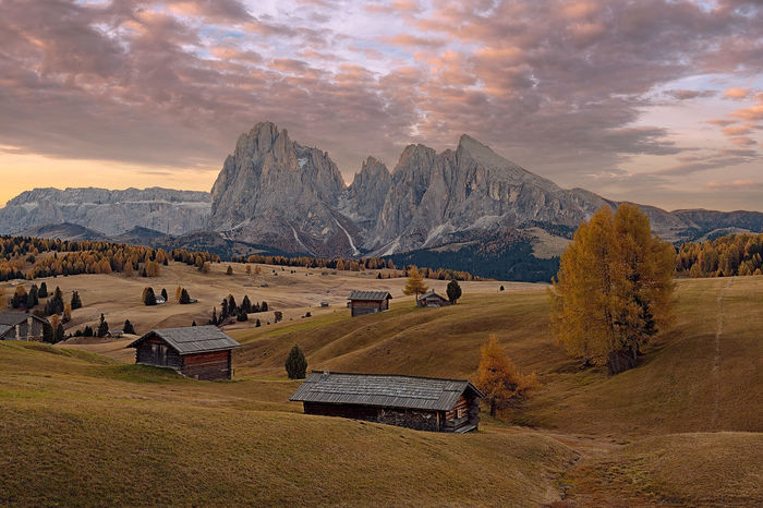 Dolomite's autumn Autumn Dolomites Morning Alpe Di Siusi Beauty In Nature Built Structure Cloud - Sky Fall Grass Landscape Mountain Mountain Range Nature Outdoors Scenics Seiser Alm Sky Sunrise Sunset