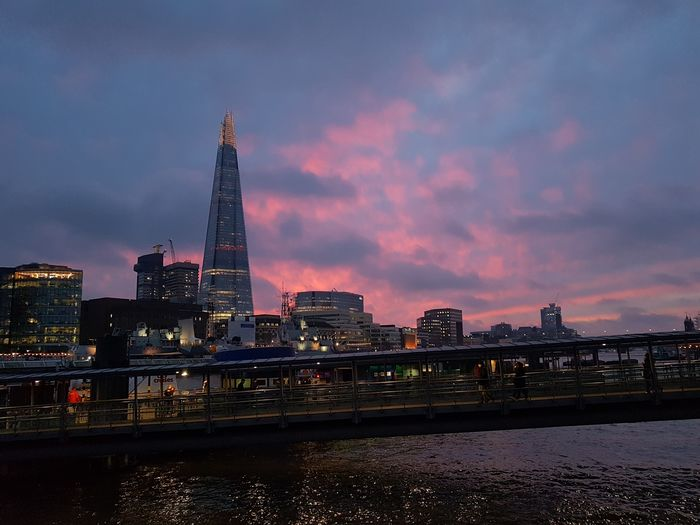 Have a nice evening City Urban Skyline Skyscraper Tower Night Cityscape Modern Illuminated Travel Travel Destinations Architecture Dusk Bridge - Man Made Structure Sunset City Life Business Finance And Industry Sky Downtown District No People Building Exterior London The Shard Red Architecture EyeEm LOST IN London