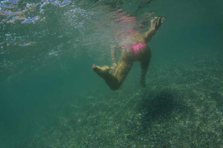 Adult Adventure Animal Themes Day Full Length Mediterranean  Mediterranean Sea Nature One Person Outdoors People Run Sea Sea Life Shirtless Swim Swimming UnderSea Underwater Water Woman Young Adult