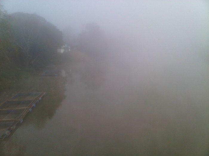 View of sea in foggy weather