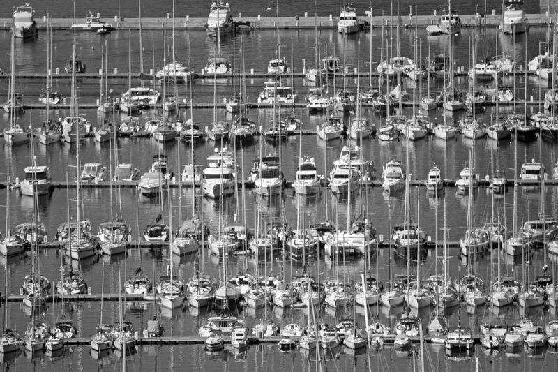 Full frame shot of boats in lake