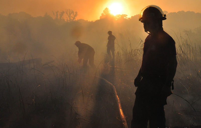 Men in protective workwear standing on field during sunset