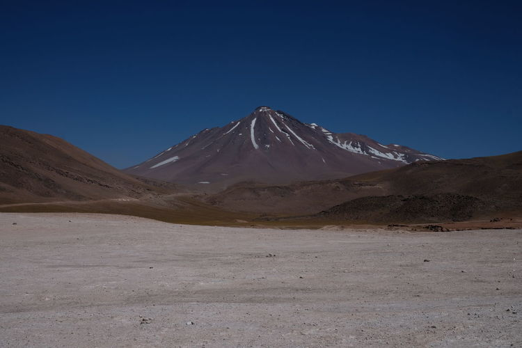 Atacama Desert Atacama Desert Chile Volcano Crater Arid Climate Beauty In Nature Blue Clear Sky Climate Desert Environment Idyllic Landscape Mountain Mountain Peak Nature No People Physical Geography Salt Flat Scenics - Nature Sky Snowcapped Mountain Tranquil Scene Tranquility Volcano