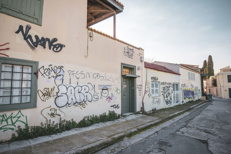 Athens Athens Greece Athens, Greece Acropolis Architecture Building Exterior Built Structure Graffiti Art And Craft Text Communication Creativity City Day Building Sky No People Wall - Building Feature Street Nature Street Art Footpath Outdoors Mural