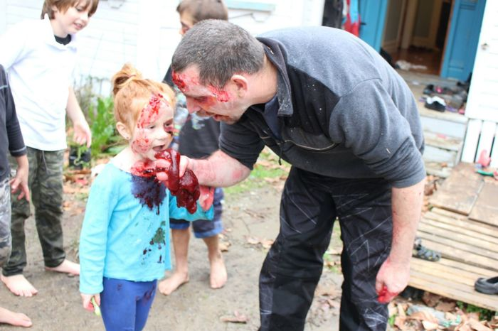 daddy zombie teaching daughter zombie Zombie Zombieapocalypse Horror Open Edit Whats For Dinner? RePicture Learning Modern Father Happy Halloween!
