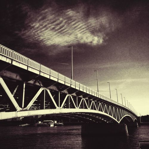 Bridge - Man Made Structure Architecture Engineering Bridge Cloud - Sky Blackandwhite Bnw Streetphotography City Budapest River Mood