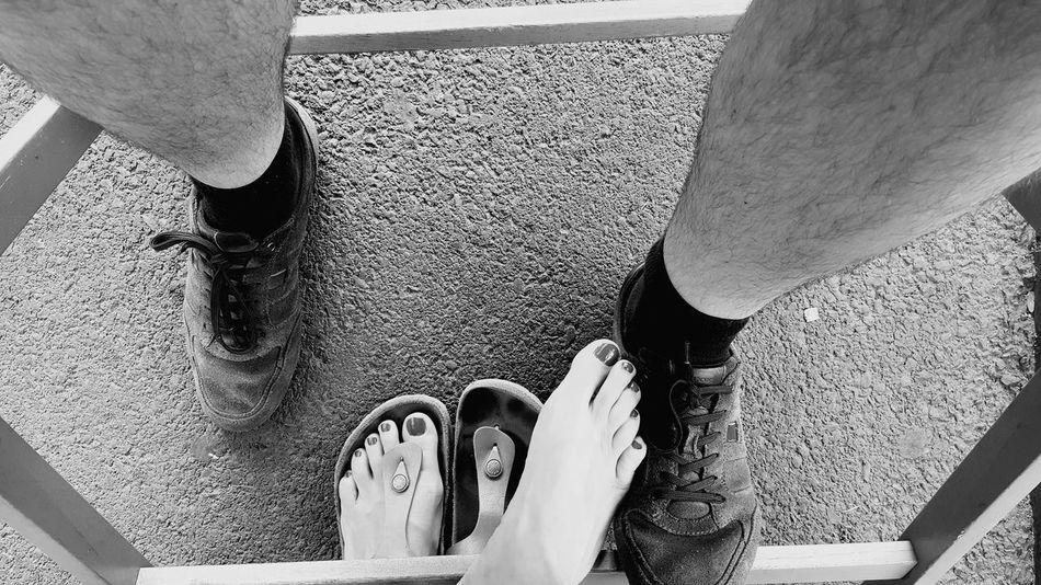 Under the table Human Foot Human Body Part Sharing  LoveBarefoot Hollidays Romantic❤ Black & White France Auvergne ClermontFerrand Personal Perspective Two People Loversnatural Underthetable