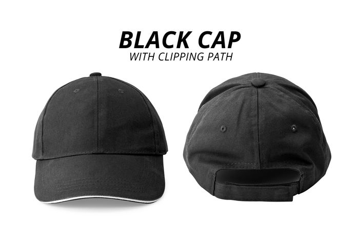 Black cap Caps Hat Baseball Cap Black Cap Black Color Cap Close-up Clothing Communication Copy Space Cut Out Design Group Of Objects Hats Indoors  No People Personal Accessory Sign Still Life Studio Shot Sun Visor Text Two Objects White Background White Color