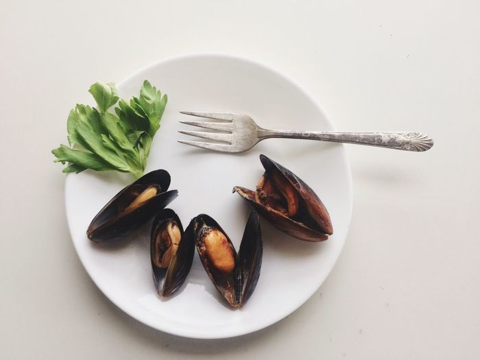 Mussel Hors d'oeuvres flatlay Food Food And Drink Plate Still Life White Background Studio Shot Freshness Healthy Eating Seafood No People Fork Table Ready-to-eat Indoors  Close-up Hors D'oeuvres Appetizer Clam Mussels Seafood Flatlay Seafood Flatlay