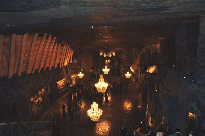 Indoors  Architecture Illuminated Chatedral Cave Wieliczka Salt Mine