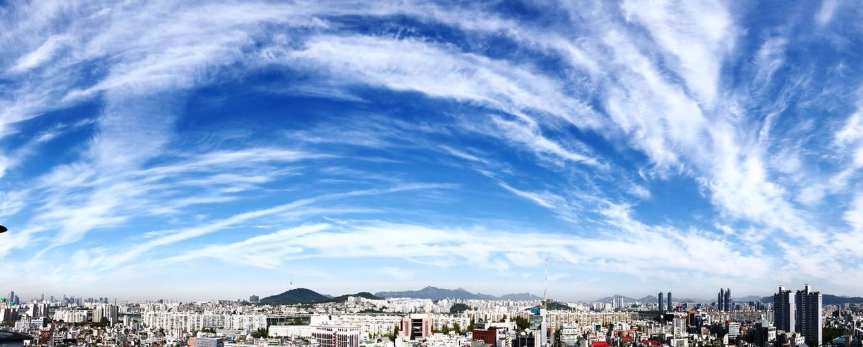 Panoramic shot of townscape against sky