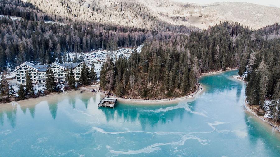 Tree Water Mountain Winter Lake