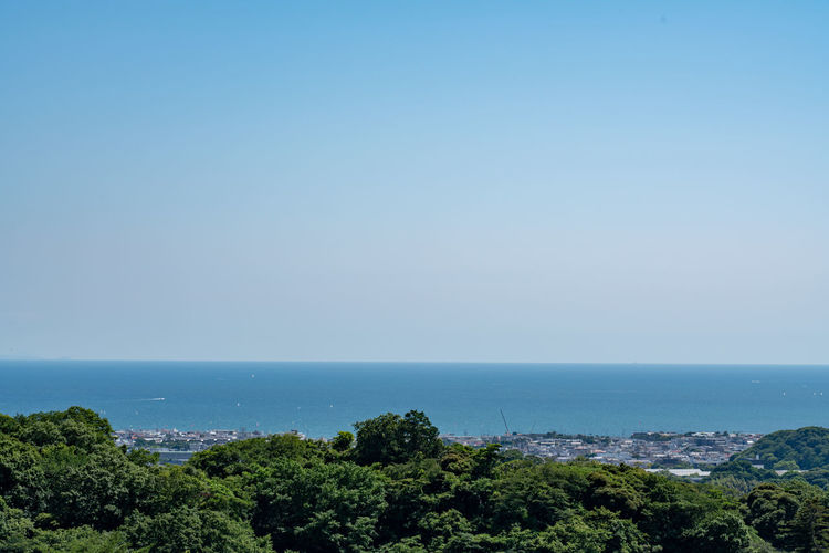 Beauty In Nature Blue Clear Sky Copy Space Day Horizon Horizon Over Water Kenchoji Temple Land Nature No People Outdoors Plant Scenics - Nature Sea Sky Tranquil Scene Tranquility Tree Water
