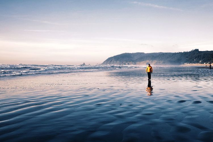 Yellow beach walk... Pacific Ocean Pacific Northwest  Pacific Water Full Length Standing Lake Mountain Sky Landscape Shore Calm Ocean The Great Outdoors - 2019 EyeEm Awards