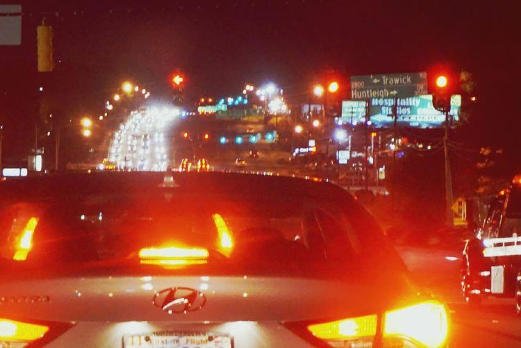Traffic on road at night