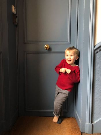 Bigsmile Childphotography Littleboy Littlecousin Babyboyphoto Door Boys Childhood Full Length One Person Doorway Looking At Camera Portrait Real People Front View Elementary Age Standing Smiling Indoors  Happiness Blond Hair Day One Boy Only People