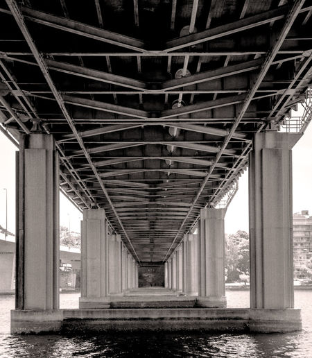 Architectural Column Architectural Feature Architecture Black & White Bridge Black & White Photography Black And White Black And White Bridge Bridge Bridge - Man Made Structure Bridge Over Water Built Structure Connection Day Depth Of Field Iron Cove Bridge No People Old Bridge Old Bridge Abandoned Bridge Outdoors Repetition Underneath