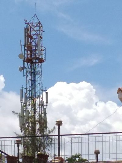"cellphone tower"" Blue And White Cloud Baground Cellphone Tower City Sky Architecture Built Structure Cloud - Sky"
