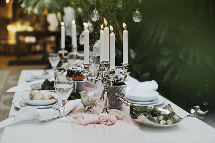 Food on a beautifully decorated easter table