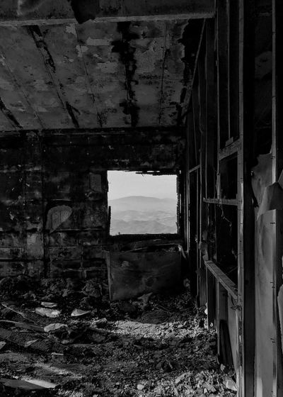 Ski Chalet Mountain Panorama Built Structure Architecture Damaged Window Bad Condition Indoors  Black And White Landscape Through The Window Apennines Perspectives On Nature