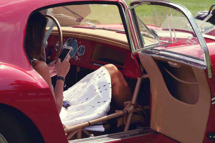 Como Villa D'Este Concorso D'Eleganza Villa D'Este White White Dress Red Car Vintage Classic Car Oldschool Classic Style Girl In Car Car Steering Wheel Lifestyles Vehicle Seat Car Door Transportation