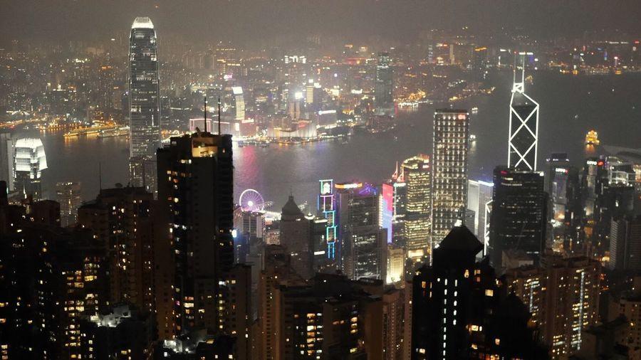 t h e p e a k City Night HongKong Travel Destinations Thepeak Hongkong Photos Hongkongnight Nightphotography Night Lights Night View Skyview City Lights