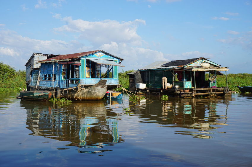 Asian Culture Built Structure Cambodia House House Boat House On Water Houseboat Lake Nautical Vessel Outdoors Reflection Water