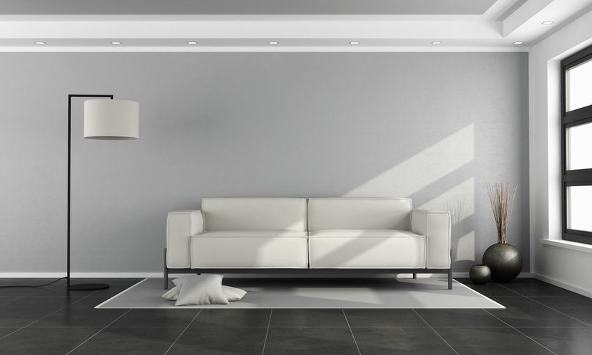 Couch Modern Room Wall Furniture Home Interior Living Room Sofa