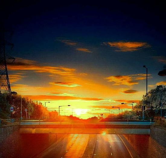Sunset Road Sky Transportation Dramatic Sky Outdoors Night Beauty In Nature